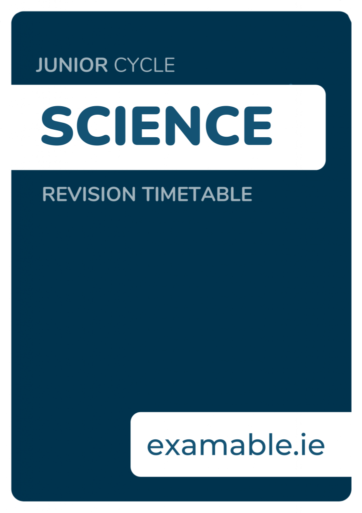 Junior Cycle Science Revision Timetable